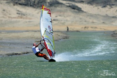 Mark Grinnell, aka Rocket Man, defends his title as #1 in Africa for  speed windsurfing