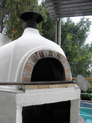 A wood burning oven