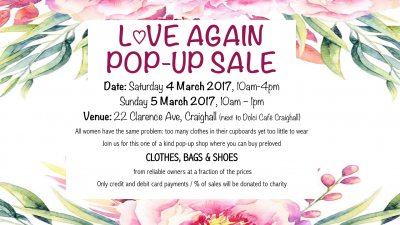 LOVE Again Pop-Up shop: 4 & 5 March 2017