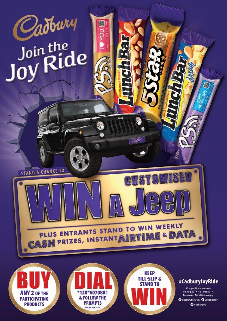 Join the Joyride with Cadbury for a chance to win a CUSTOMISED Jeep