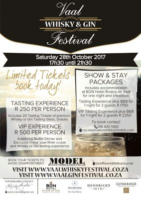 4th annual Vaal Whiskey Festival at BON Hotel Riviera on Vaal adds Gin sideshow to the mix