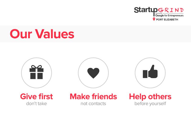 Startup Grind Port Elizabeth Values Photo: Startup Grind Port Elizabeth