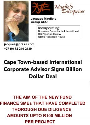 Cape Town-based International Corporate Advisor Signs Billion Dollar Deal