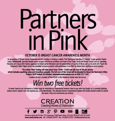 Creation Wines supports Reach for Recovery's Ditto Project this Breast Cancer Awareness Month