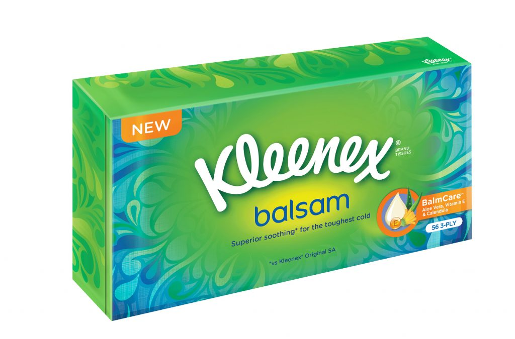 New Kleenex® Balsam Tissues comes in both Box and Pocket Pack Tissues