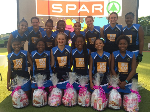 Kingsridge will be aiming for their fourth straight title in the East London Inland leg of the SPAR Eastern Cape Schoolgirls Hockey Challenge in Kingwilliamstown on Sunday. Last year's winning team was (back, from left) Robin September, Jordan Herbst, Charmone' Theron (vice-captain), Sambesiwe Tyali, Kirsty Elders, Taigan Hall, Margaret Ann Otto, Mbsakazi Fassi; (front, from left) Taylor Christian, Nela Mbedu (captain), Bridget Gratz, Linawo Matota, Jordan Galli and Anda Matomela. Photo: Megan Gratz