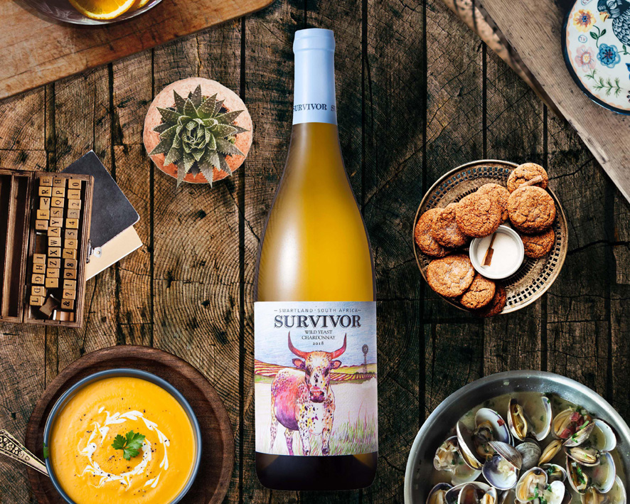 Survivor Chardonnay 2018 styled from above