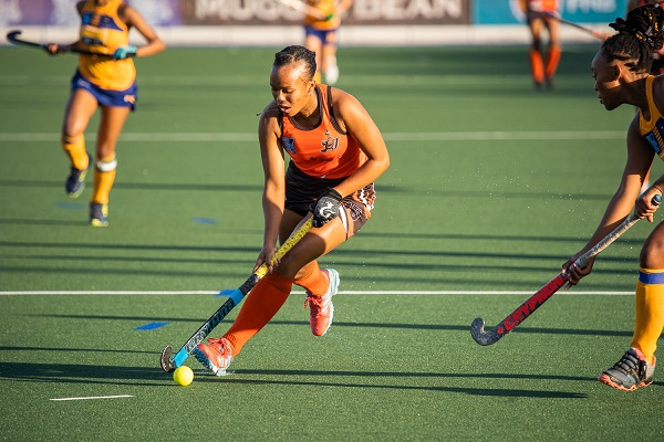 University of Johannesburg Kaylim Bowers goes on a run during their Varsity Hockey match against Wits in Cape Town yesterday. UJ won the match 2-1. Photo: Luke Thorrold