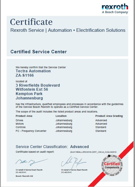 Tectra Automation Achieves Excellenc Certificate